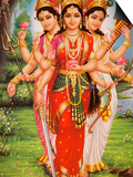 Picture of Hindu Goddesses Parvati, Lakshmi and Saraswati, India, Asia Prints by  Godong