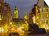 Evening View from Trafalgar Square Down Whitehall with Big Ben in the Background, London, England Prints by Roy Rainford