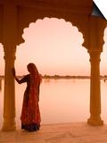 Woman Wearing Sari, Jaisalmer, Rajasthan, India Print by Doug Pearson