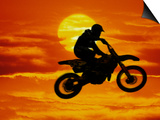 Digital Composite of Motocross Racer Doing Jump Posters by Steve Satushek