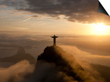 Statue of Jesus, known as Cristo Redentor (Christ the Redeemer), on Corcovado Mountain in Rio De Ja Posters by Peter Adams