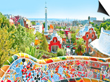 The Famous Summer Park Guell Over Bright Blue Sky In Barcelona, Spain Art by  Vladitto