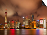 City Skyline at Night with Oriental Pearl Tower and Pudong Skyscrapers across the Huangpu River, Sh Prints by Neale Clark