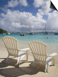 Two Empty Beach Chairs on Sandy Beach on the Island of Jost Van Dyck in the British Virgin Islands Poster by Donald Nausbaum