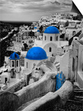Bell Tower and Blue Domes of Church in Village of Oia, Santorini, Greece Prints by Darrell Gulin
