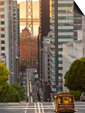 Cable Car Crossing California Street With Bay Bridge Backdrop in San Francisco, California, USA Prints by Chuck Haney