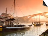 Porto Wine Carrying Barcos, River Douro and City Skyline, Porto, Portugal Prints by Michele Falzone
