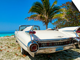 Classic 1959 White Cadillac Auto on Beautiful Beach of Veradara, Cuba Prints by Bill Bachmann
