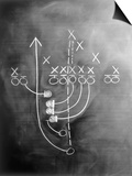 Football Play on Chalkboard Art by Howard Sokol