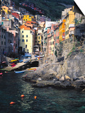 Harbor View of Hillside Town of Riomaggiore, Cinque Terre, Italy Prints by Julie Eggers