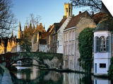 Canal View with Belfry in Winter, Bruges, West Vlaanderen (Flanders), Belgium, Europe Prints by Stuart Black