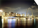 Stlouis Skyline and the Arch at Night Prints
