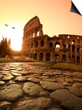 Colosseum and Via Sacra, Sunrise, Rome, Italy Posters by Michele Falzone