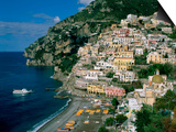 Amalfi Coast, Coastal View and Village, Positano, Campania, Italy Prints by Steve Vidler