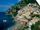 Amalfi Coast, Coastal View and Village, Positano, Campania, Italy Prints by Steve Vidler