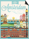 Retro Style Poster With Amsterdam Symbols And Landmarks Posters by  Melindula