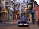 View Along Quiet Street at Dawn Showing Old American Car and Street Lights Still On, Havana, Cuba Prints by Lee Frost