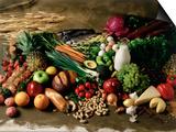 Assortment of Fruits, Vegetables & Nuts Prints