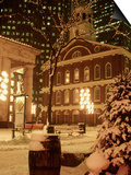 Faneuil Hall at Christmas with Snow, Boston, MA Posters by James Lemass
