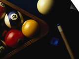 Rack of Pool Balls with Chalk and Cue Prints by Ernie Friedlander