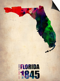 Florida Watercolor Map Posters by  NaxArt