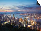 Hong Kong Island and Kowloon Skylines at Sunset, Hong Kong, China Prints by Ian Trower