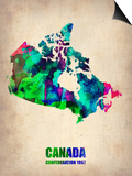 Canada Watercolor Map Prints by  NaxArt