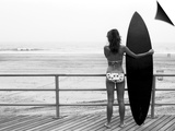 Model with Black Surfboard Standing on Boardwalk and Watching Wave on Beach Posters by Theodore Beowulf Sheehan