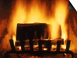 Log Burning in Fireplace Kunstdrucke von Chris Rogers