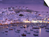 Overview of Mykonos Town harbor, Mykonos, Cyclades Islands, Greece Prints by Walter Bibikow