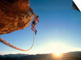 Rock Climber Dangling Off of Cliff Art by Greg Epperson