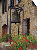 Bronze Bell, Geraniums and Farmhouse, Tuscany, Italy Prints by John & Lisa Merrill