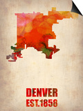 Denver Watercolor Map Art by  NaxArt
