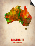 Australia Watercolor Map Art by  NaxArt