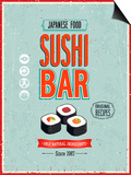 Vintage Sushi Bar Poster Prints by  avean