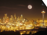 Moonrise over Nighttime Seattle, Washington, Usa Prints by Janis Miglavs