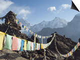 Prayer Flags, View From Gokyo Ri, 5483M, Gokyo, Sagarmatha National Park, Himalayas Prints by Christian Kober