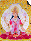 Picture of Lakshmi, Goddess of Wealth and Consort of Lord Vishnu, Sitting Holding Lotus Flowers, Ha Print by  Godong