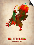 Netherlands Watercolor Map Posters by  NaxArt