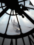 The View of Sacre Coeur Basilica from Clock in Cafe of Musee D'Orsay (Orsay Museum), Paris, France Print by Bruce Yuanyue Bi