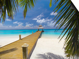 Jetty Leading Out to Tropical Sea, Maldives, Indian Ocean, Asia Print by Sakis Papadopoulos