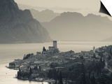 Veneto, Lake District, Lake Garda, Malcesine, Aerial Town View, Italy Print by Walter Bibikow