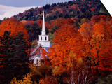 Autumn Colors and First Baptist Church of South Londonderry, Vermont, USA Prints by Charles Sleicher