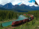 Morants Curve, Bow River, Canadian Pacific Railway, Near Lake Louise, Banff National Park, UNESCO W Art by Hans-Peter Merten