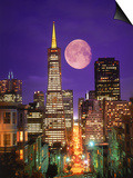 Moon Over Transamerica Building, San Francisco, CA Prints by Terry Why