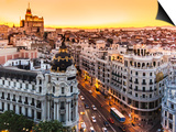Panoramic View Of Gran Via, Madrid, Spain Art by  kasto