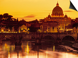 St Peter's Basilica and Ponte Saint Angelo, Rome, Italy Prints by Doug Pearson