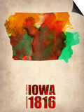 Iowa Watercolor Map Posters by  NaxArt