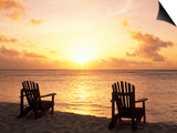 Empty Beach Chairs at Sunset, Denis Island, Seychelles Prints by Sergio Pitamitz