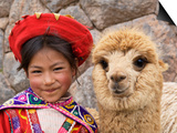 Girl in Native Dress with Baby Alpaca, Sacsayhuaman Inca Ruins, Cusco, Peru Poster von Dennis Kirkland
